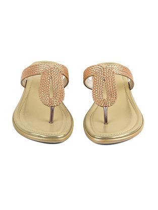 Gold Handcrafted Metallic Leather Box Heels
