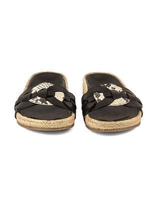 Black Leather Animal Print Jute Covered Slip Ons
