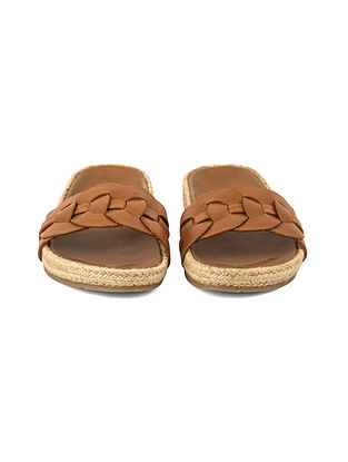 Tan Leather Jute Covered Slip Ons