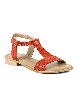 Orange Handcrafted Leather Block Heels