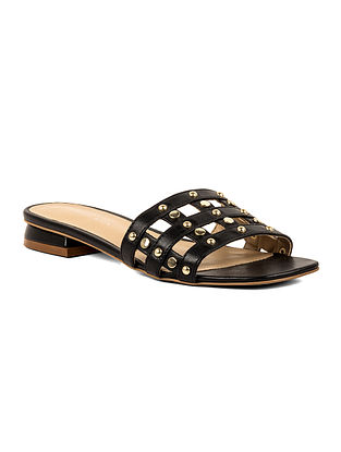 Black Handcrafted Leather Block Heels
