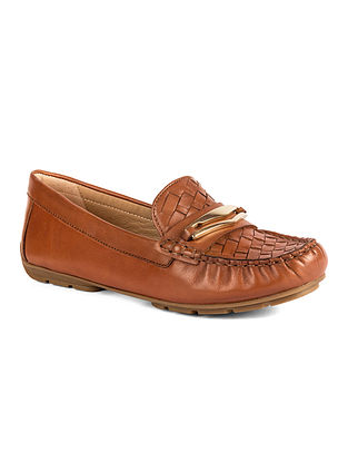 Tan Handcrafted Woven Leather Shoes