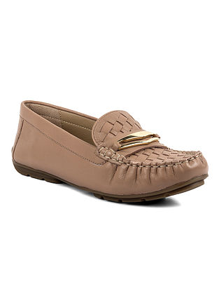 Nude Handcrafted Woven Leather Shoes