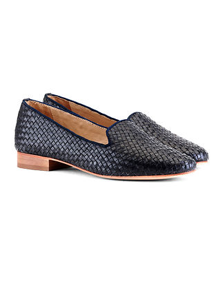Navy Handcrafted Woven Leather Shoes
