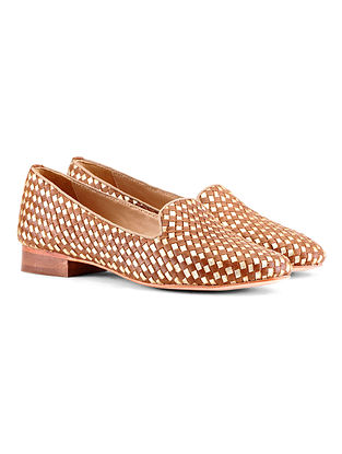 Tan Gold Handcrafted Woven Leather Shoes