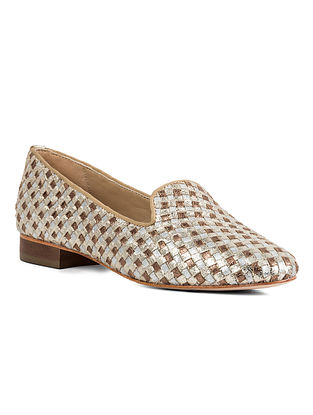 Gold Silver Handcrafted Woven Leather Shoes