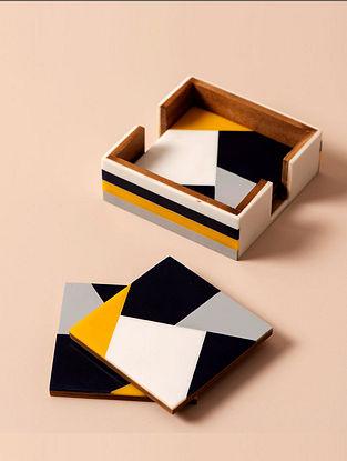 Multicolor Handmade MDF Coasters (Set of 5) (2.98in x 2.98in)