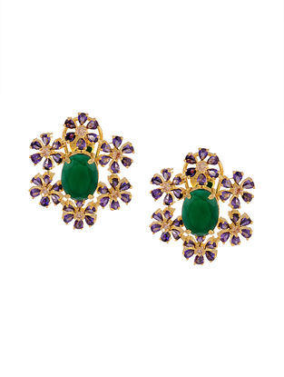Purple Green Gold Tone Handcrafted Earrings