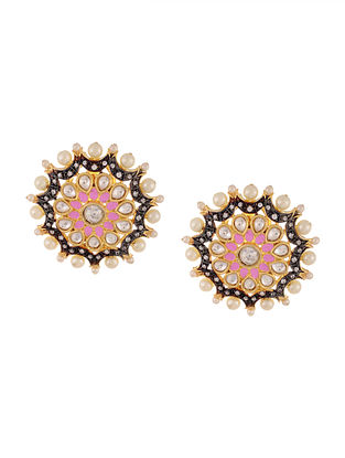 Pink Gold Tone Handcrafted Earrings with Pearls and Marcasite