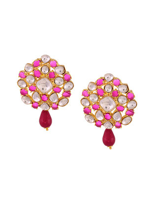 Pink Maroon Gold Tone Handcrafted Earrings