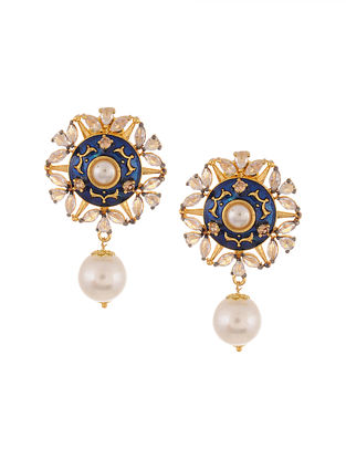Blue Gold Tone Kundan Enameled Earrings with Pearls