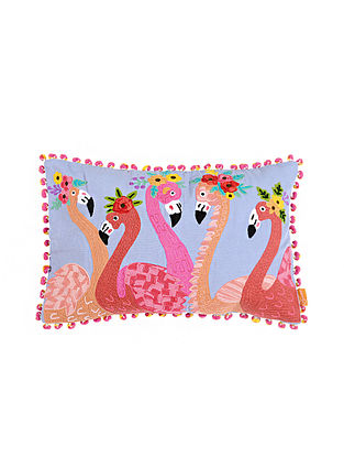 Flamingo Lavender Crewel-Embroidered Cotton Cushion Cover (13in x 20in)
