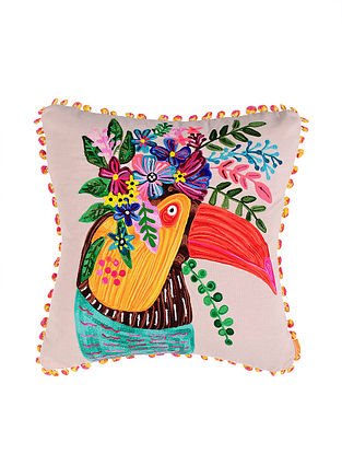 Toucan Off-White Crewel-Embroidered Cotton Cushion Cover (18in x 18in)