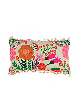 Floral Green Crewel-Embroidered Cotton Cushion Cover (11in x 20in)