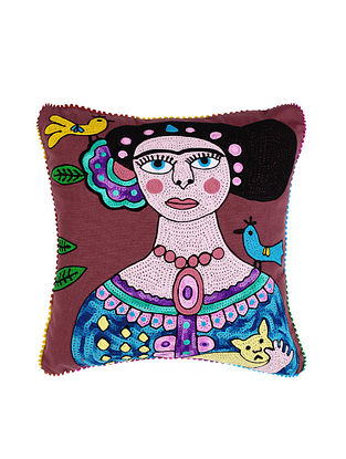 Frida Kahlo Inspired Maroon Crewel-Embroidered Cotton Cushion Cover (18in x 18in)