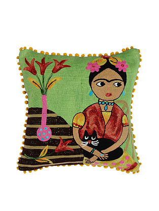 Frida Kahlo Inspired Green Crewel-Embroidered Jute and Cotton Cushion Cover (18in x 18in)