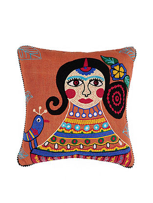 Frida Kahlo Inspired Orange Crewel-Embroidered Jute and Cotton Cushion Cover (18in x 18in)
