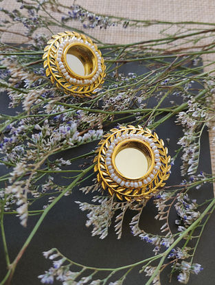 Gold Plated Handcrafted Earrings with Mirror