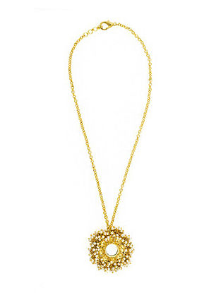 Gold Plated Handcrafted Necklace with Mirror