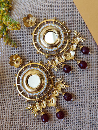 Maroon Gold Plated Handcrafted Earrings with Mirror