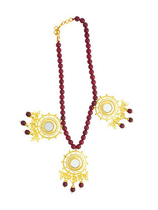 Maroon Gold Plated Handcrafted Necklace with Mirror