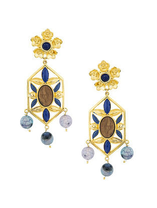 Blue Brown Gold Plated Handcrafted Earrings
