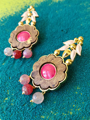 Pink Gold Plated Handcrafted Wood Earrings