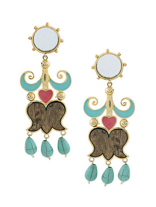 Blue Pink Gold Plated Handcrafted Wood Earrings