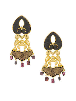 Dark Brown Purple Gold Plated Handcrafted Wood Earrings