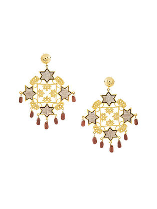 Red Gold Plated Handcrafted Wood Earrings