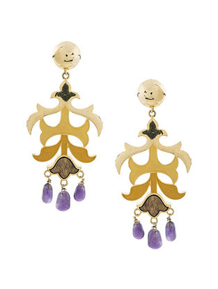 Purple Gold Plated Handcrafted Wood Earrings
