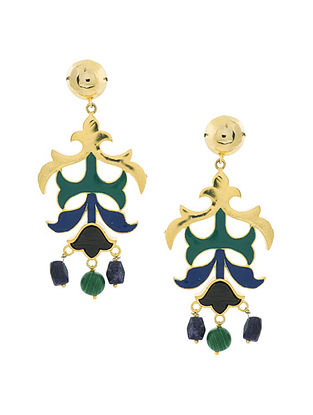 Blue Green Gold Plated Handcrafted Wood Earrings