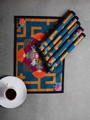 Multicolored Digital Printed Poly Cotton Canvas Placemats (Set of 6) (18in x 12in)