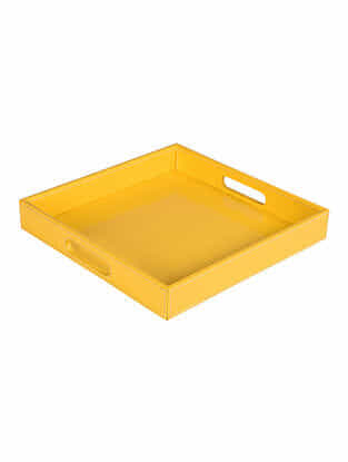 Yellow Faux Patent Leather Tray (L:12in x W:12in x H:1.6in)
