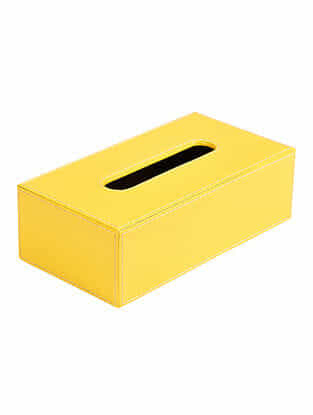 Yellow Faux Patent Leather Tissue Box (L:9.5in x W:5.1in x H:3in)