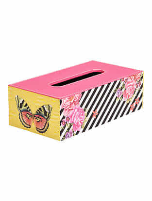 Multicolored Printed Faux Leather Tissue Box (L:9.5in x W:5in x H:3in)