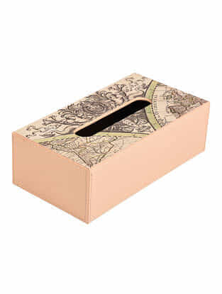 Peach-Off White Printed Faux Patent Leather Tissue Box (L:9.5in x W:5in x H:3in)