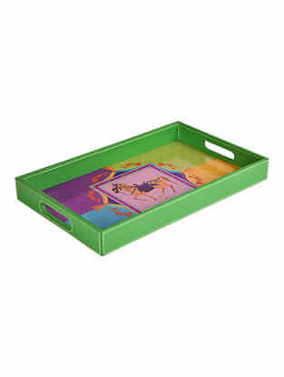 Multicolored Printed Faux Patent Leather Tray (L:16in x W:10in x H:1.7in)