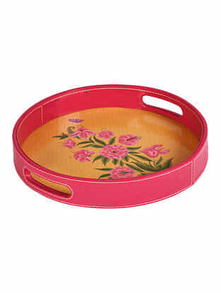 Pink-Mustard Printed Faux Patent Leather Tray (L:12in x W:12in x H:1.7in)