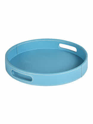 Turquoise Faux Leather Tray (L:12in x W:12in x H:1.7in)