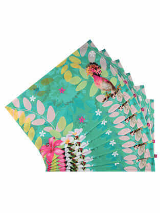 Mademoiselle Daisy Green Digital Printed Cotton Tablemats (Set of 6) (18in X 12in)