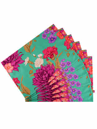 Mademoiselle Ollie Green Digital Printed Cotton Tablemats (Set of 6) (18in X 12in)