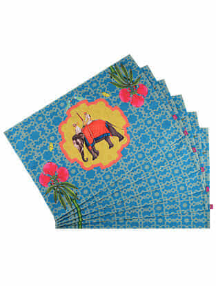 Gulnar Jahaan Blue Digital Printed Cotton Tablemats (Set of 6) (18in X 12in)