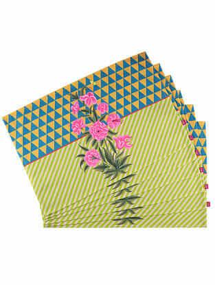 Gulnar Bahaar Multicolor Digital Printed Cotton Tablemats (Set of 6) (18in X 12in)