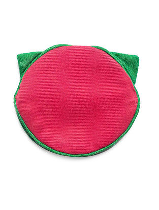 Pink-Green Cat Shaped Cotton Earphone Case