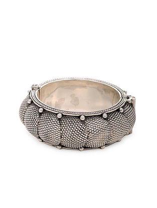 Tribal Silver Hinged Opening Bangle (Bangle Size: 2/2)