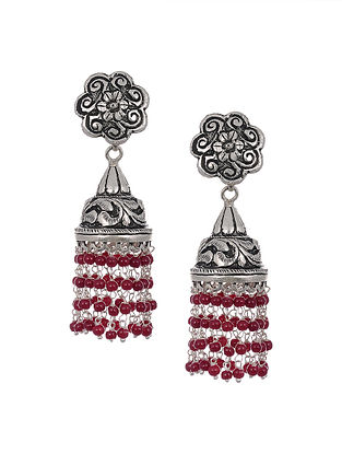 Maroon Tribal Silver Jhumki Earrings