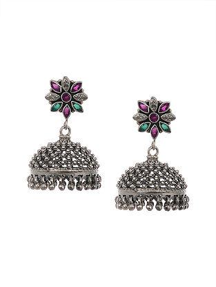 Green Pink Tribal Silver Jhumki Earrings