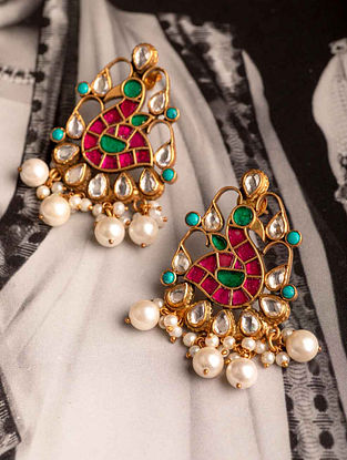 Multicolored Gold Plated Kundan Silver Earrings with Pearls