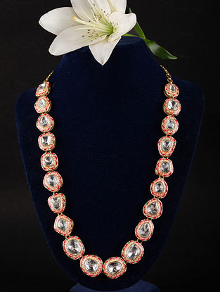 Orange Red Enameled Gold Plated Kundan Silver Necklace